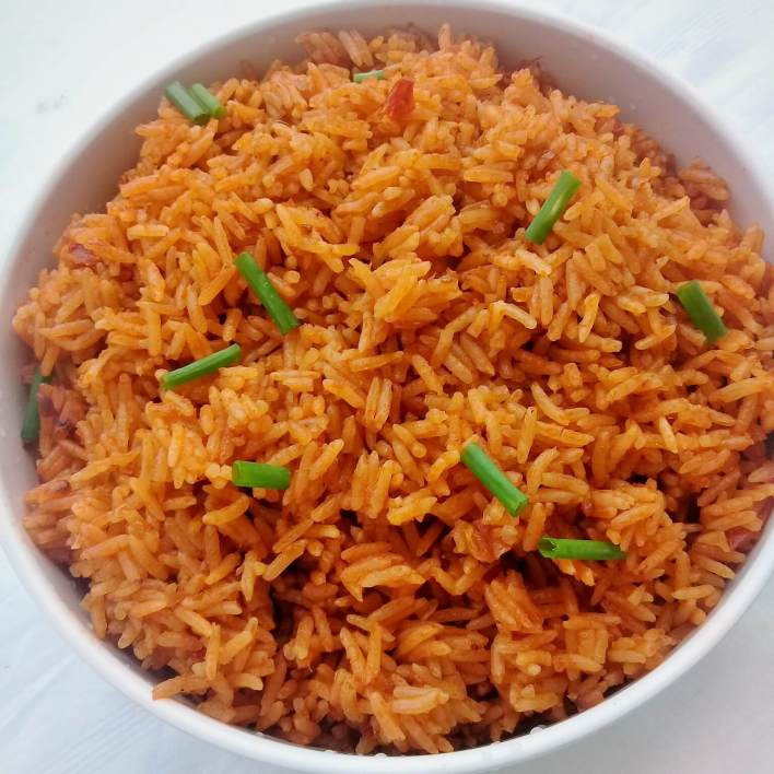 Rich tasting jollof cooked with light coconut milk instead of water. It will be your new favourite jollof. Coconut does wonders!