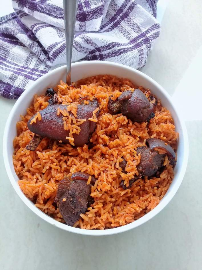 Jollof with goat meat (mutton)