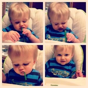 Beckett eating greenbeans