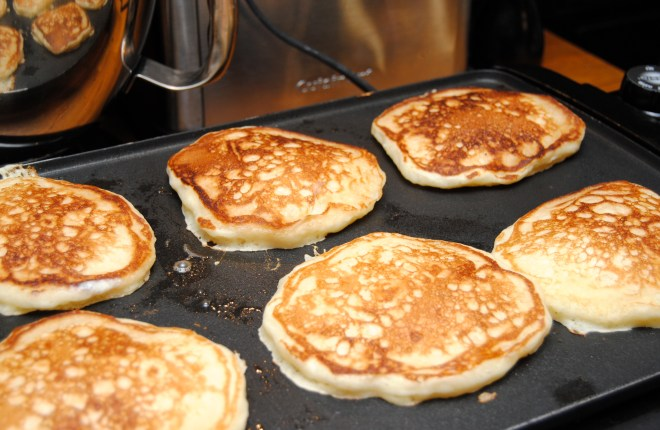 Pancakes on griddle