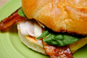 Turkey candied bacon caramelized onion sandwich