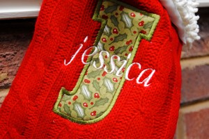 Appliqued and Embroidered Stocking - Jessica