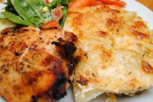 Honey Mustard Chicken and Scalloped Potatoes