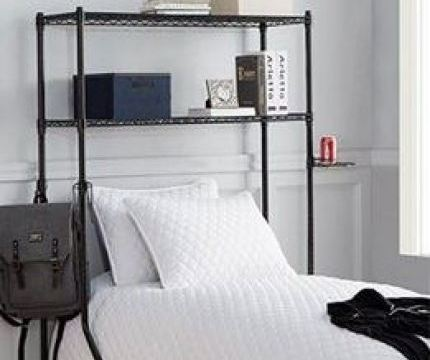 20 Insanely Clever Products For Your Dorm - A bedroom with a bed and desk in a room - Shelf