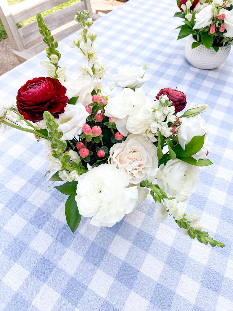 floral arrangement on table