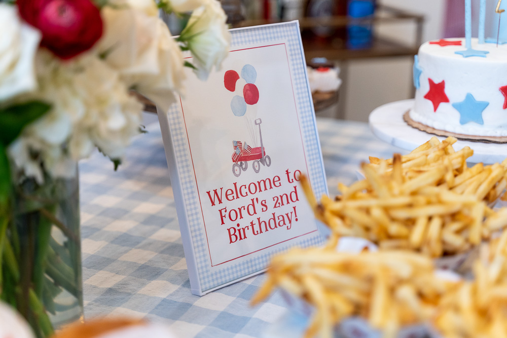 birthday sign and fries