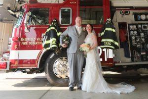 fire truck wedding photos Elyria Bishop Photography