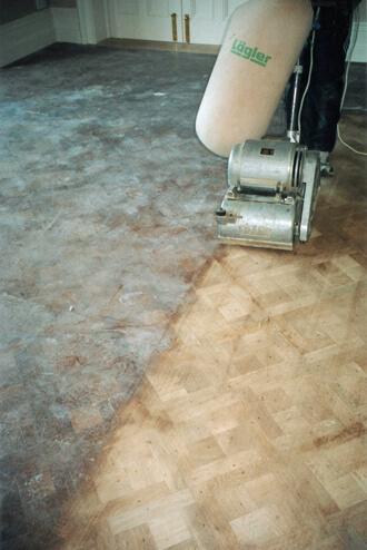 Machine sanding wooden floors. Minimal dust - amazing results