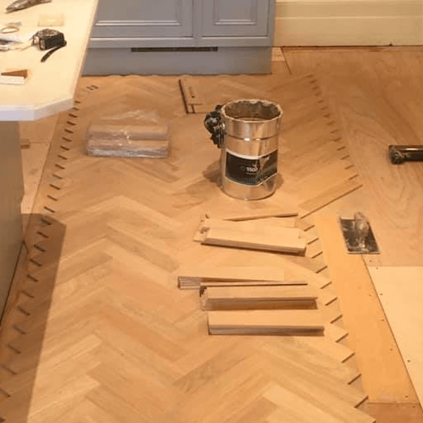 parquet flooring being glued