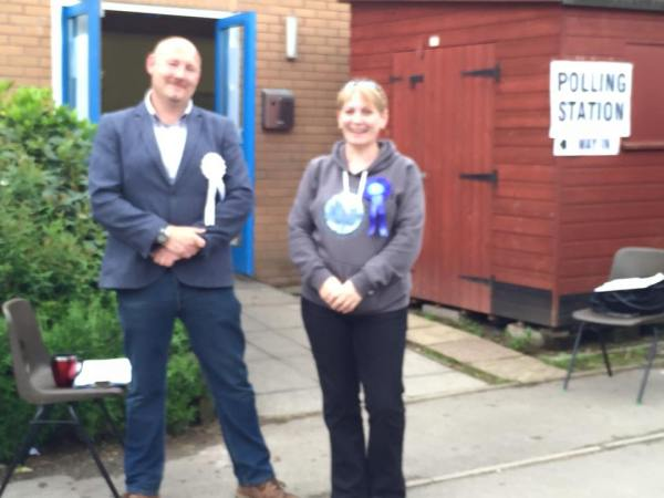 TDBC canditates outside Bishop's Hull School Hall, used as our Polling Station for the General/local electios on May 7th 2015