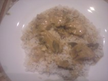 Chicken curry with rice. Spicy&delicious. :)