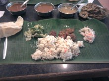 Eating off the banana leaf (incl. various spicy curries :)).