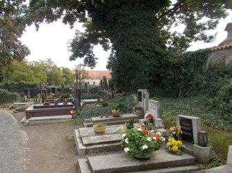 Graves in front of the Sedlec ossuary.