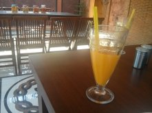 Fresh orange juice with ice.