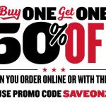 Buy one sandwich get one at 50% off at Jimmy Johns October 12th thru November 8th