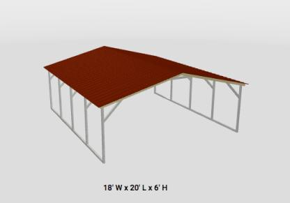 Vertical Roof Style Carport.