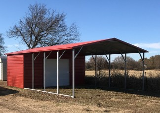 18' wide x 31' long A-Frame Combo Style Carport with 7' legs and 10' Enclosed with a 8'x7' Roll-up Door.