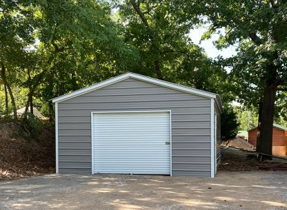 18x21x8 Vertical Roof All Metal Garage with 8' side walls