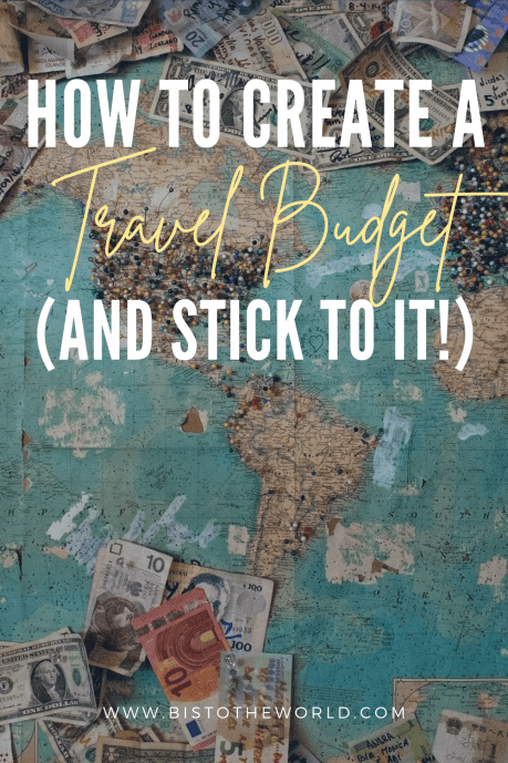 how to create a travel budget pin with word map as background
