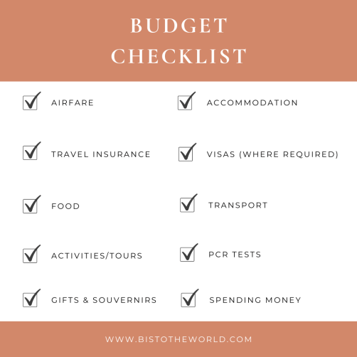 how to create a travel budget checklist