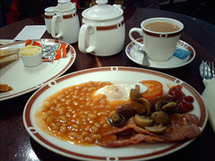 A traditional full English breakfast - complete with tea!