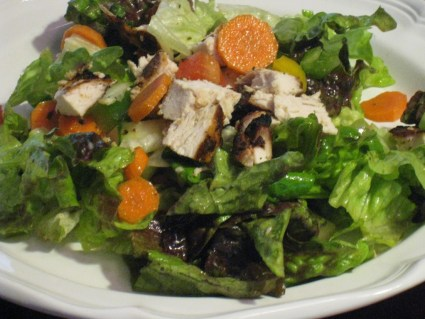 Grilled chicken salad with homemade Asian dressing