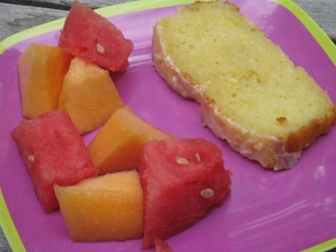 A balance of cake and fruit...