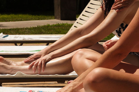 Conservative young French women are covering up at the beach.