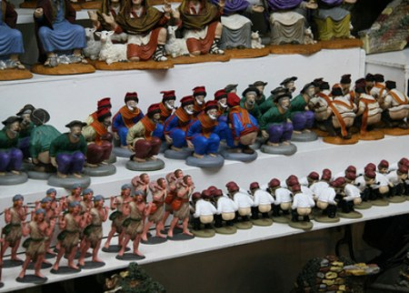 Caganers line the holiday shelves in Spain.
