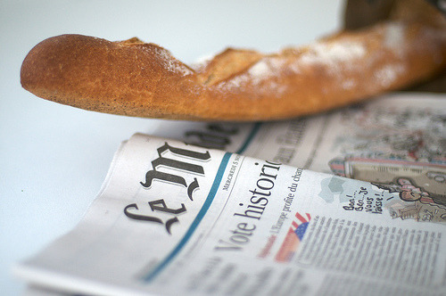 French baguette on a French newspaper