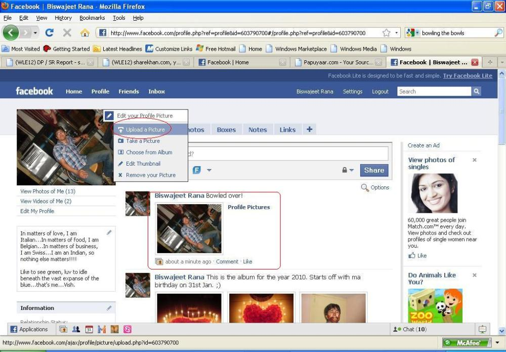 How to publish your profile picture on Facebook wall (1/2)