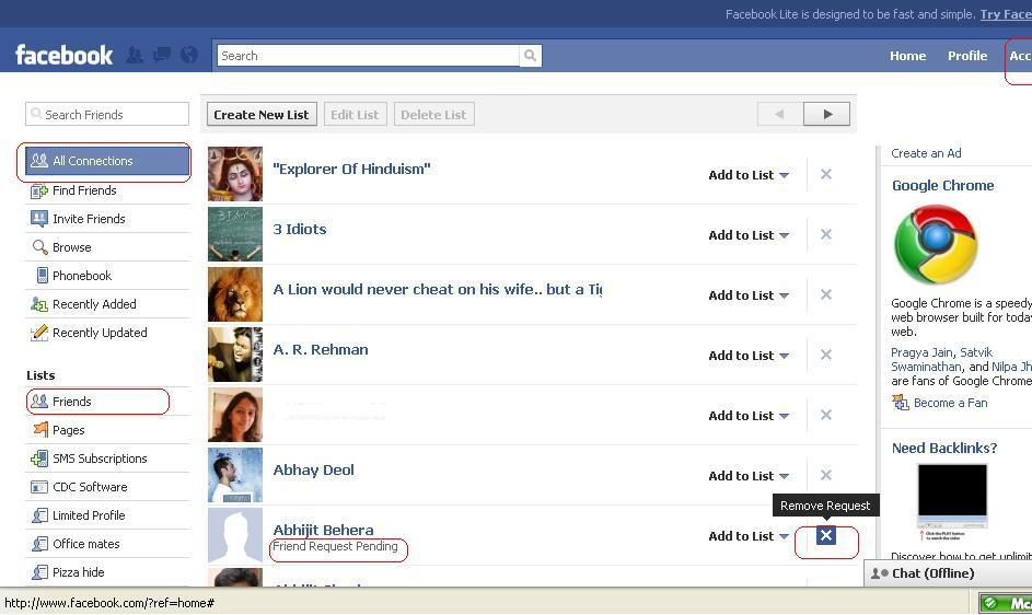 How to recall/cancel a Friend Request on Facebook (1/4)