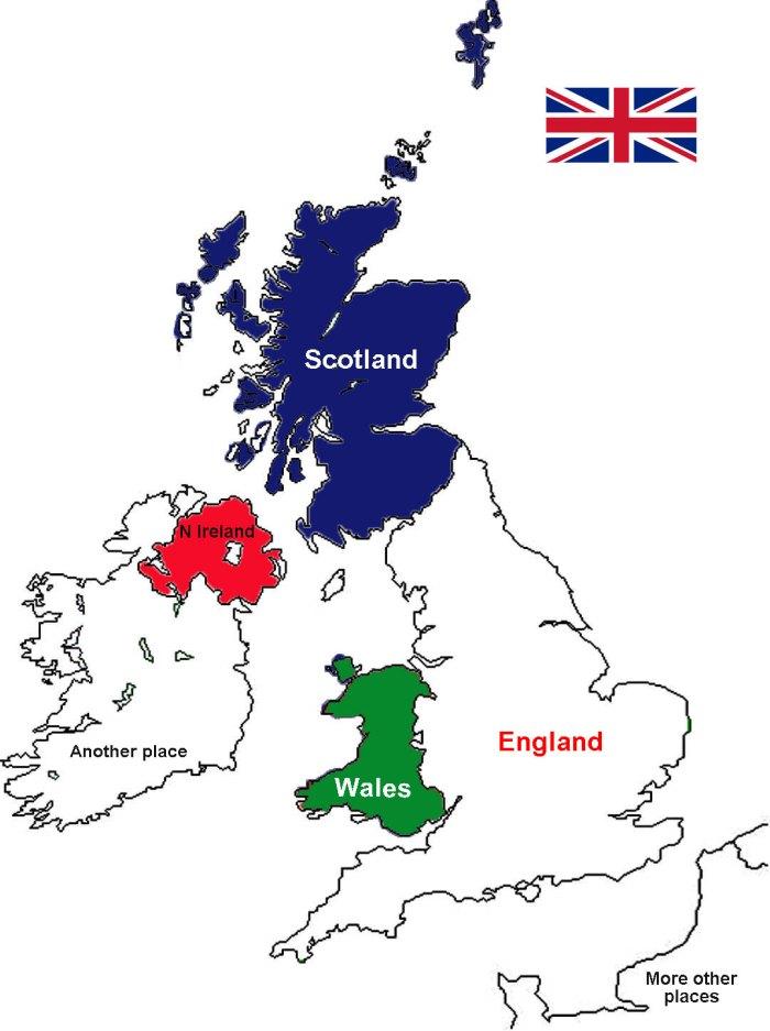 United Kingdom, Great Britain, England, Wales, Scotland, Northern Ireland, map, union jack, union flag.