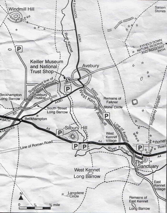 Avebury - very useful map handed to me by a guy in the car park. Look at all those prehistoric remains!