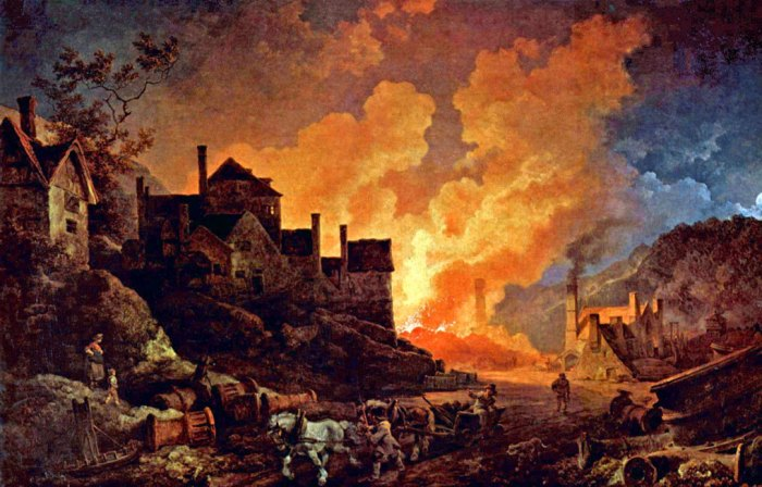 Coalbrookdale by Night, de Loutherbourg, industrialisation