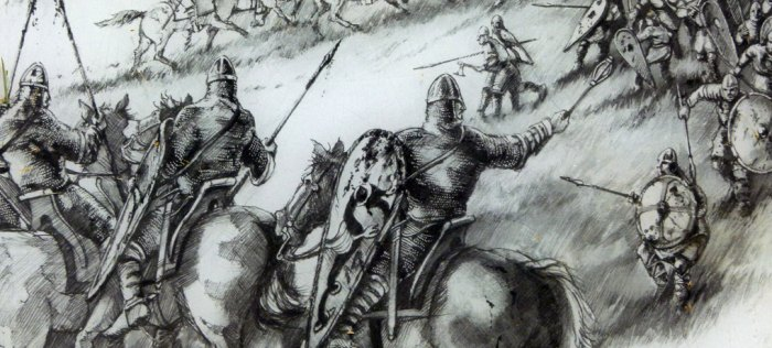 Saxon infantry away from the shield-wall was vulnerable to Norman cavalry. Detail from English Heritage information board.