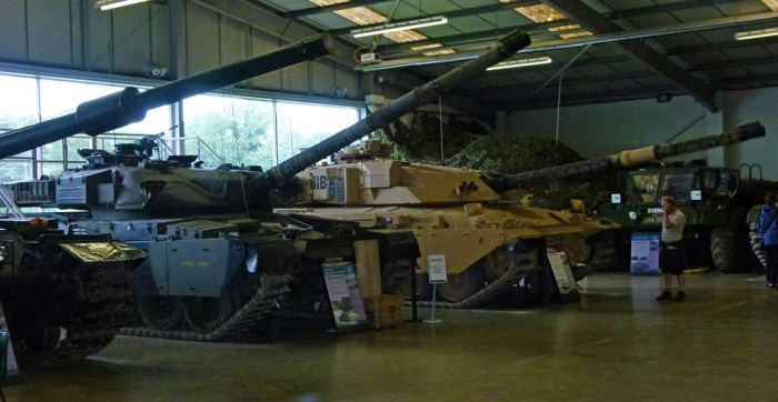 Chieften, Challenger and other modern tanks lined up at the Tank Museum, Bovington