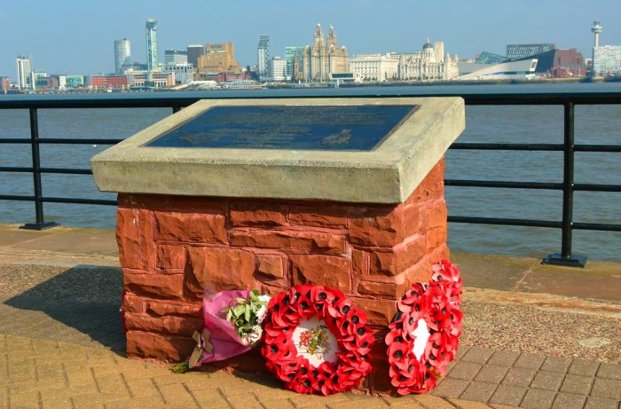 Memorial to the Cockleshell Heroes at Woodside, Birkenhead.