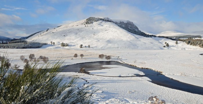 A mountainous and snowy part of the British landscape in the Cairngorm National Park, Scotland