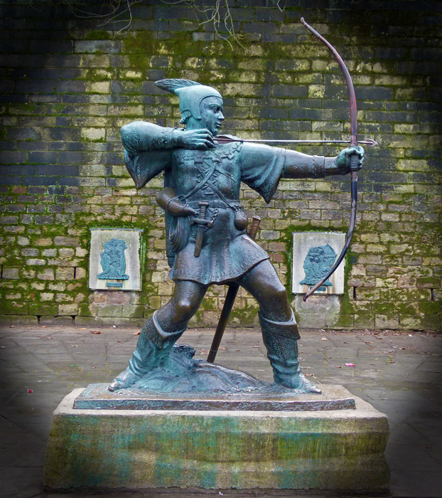 Statue of Robin Hood by James wood on Castle Green, Nottingham