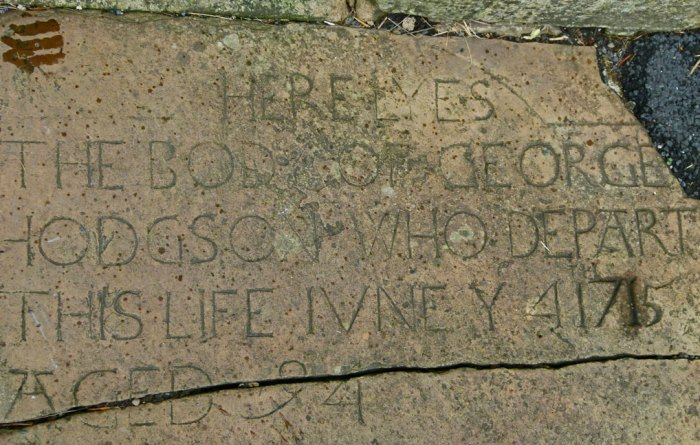 George Hodgson's gravestone.