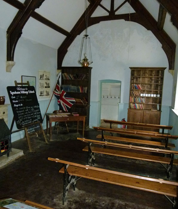 Tyneham - the recreated schoolroom, with work laid out for you to inspect. Not a dry eye in the house. It'll be Empire Day soon.