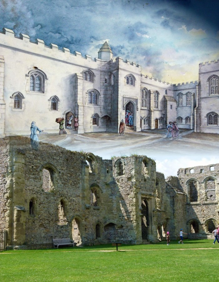 Portchester Castle, then and now. This was part of the Royal palace.