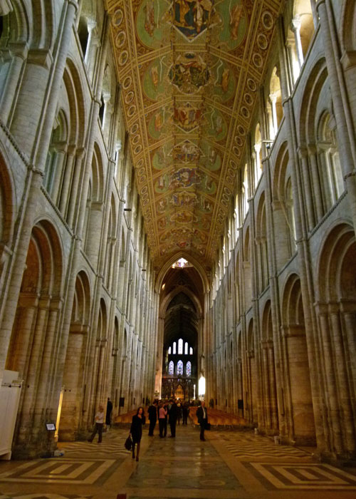 Ely's normous nave - Norman arches, Victorian ceiling