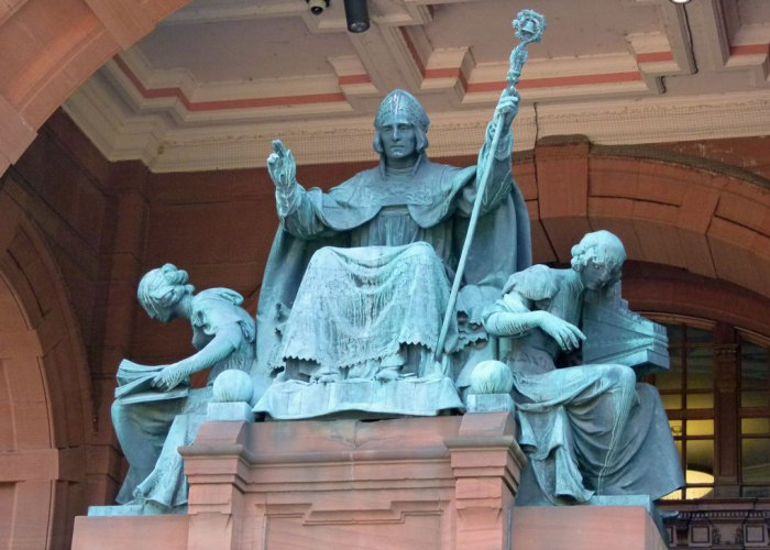 St Mungo (Kentigern) statue at Kelvingrove, Glasgow
