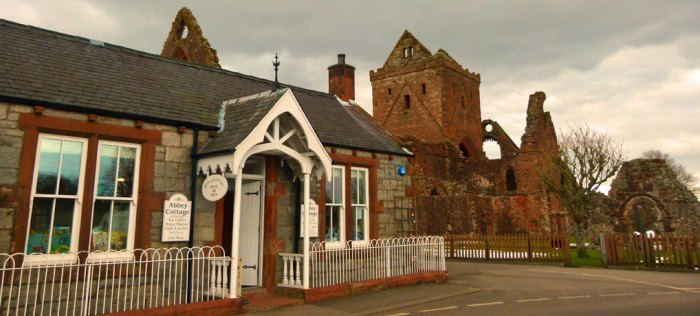 Abbey Cottage with Sweetheart Abbey next door. Nice coffee and bun!