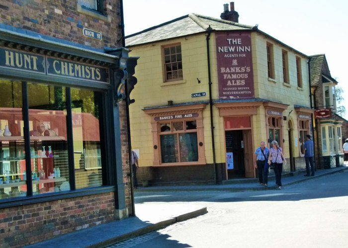 Blists Hill, chemist, pub, High Street, Canal Street