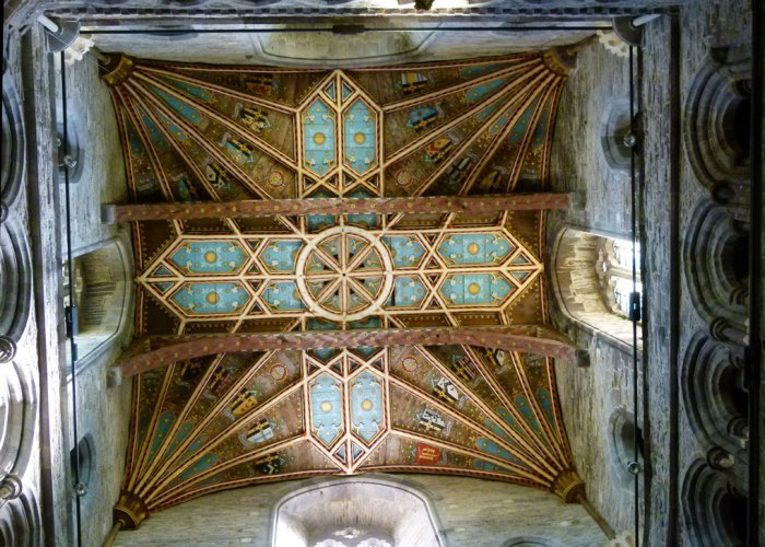 St Davids - the ceiling under the crossing.