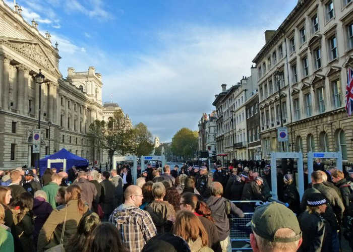 Security access to Whitehall on Remembrance Sunday