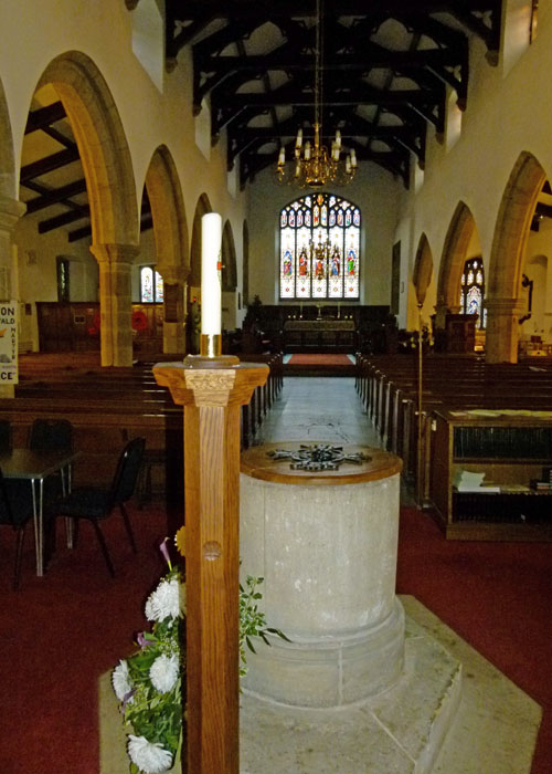 St Oswald's, Warton, nave, font